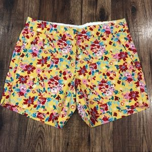"J. Crew Yellow Floral Basketweave 5"" Shorts size 0"